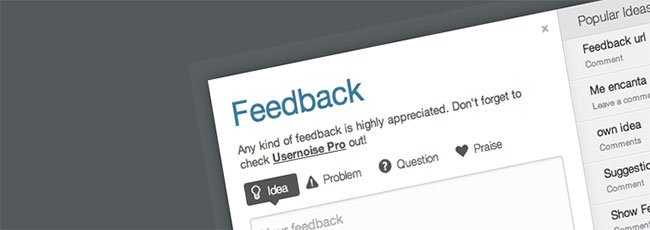 Usernoise modal feedback contact form