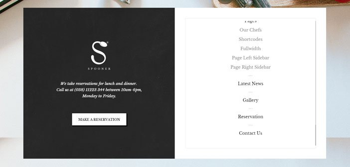 Spooner – A Beautiful Restaurant WordPress Theme