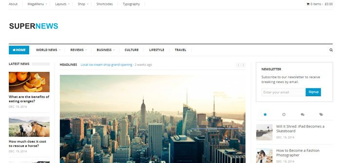 SuperNews – A Flexible News / Magazine WordPress theme