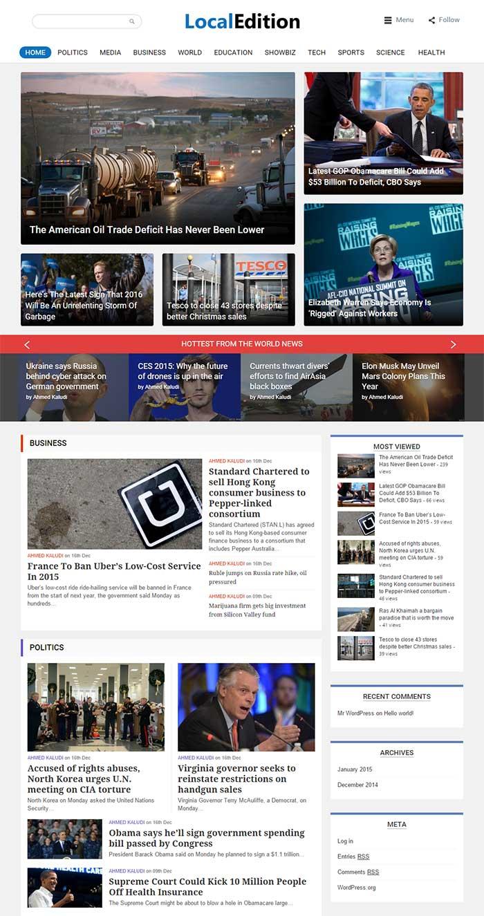 LocalEdition News WordPress Magazine Theme