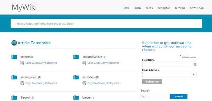 MyWiki WordPress Theme