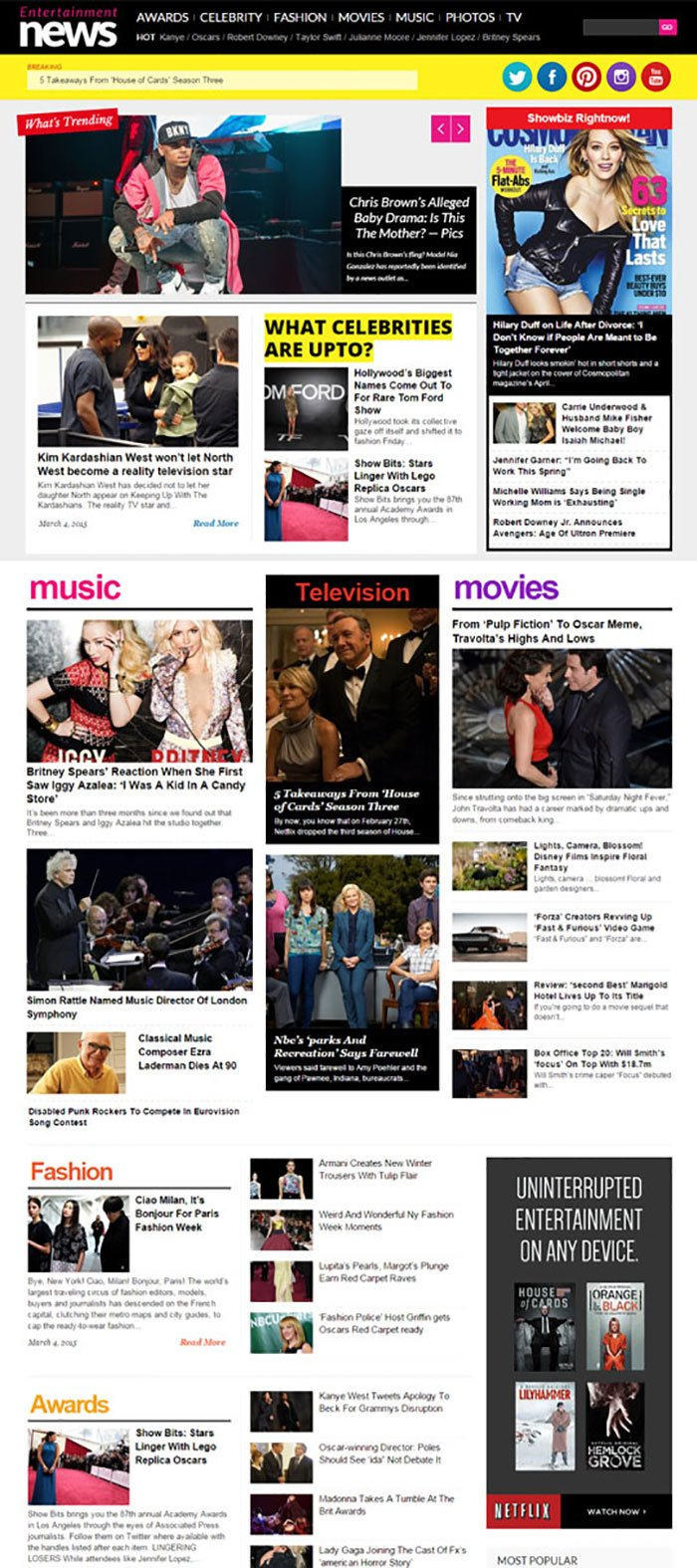 EntertainmentNews - Celebrity News Portal Theme