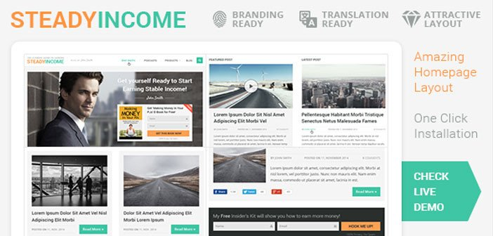 SteadyIncome – Personal Blog WordPress Theme for Bloggers