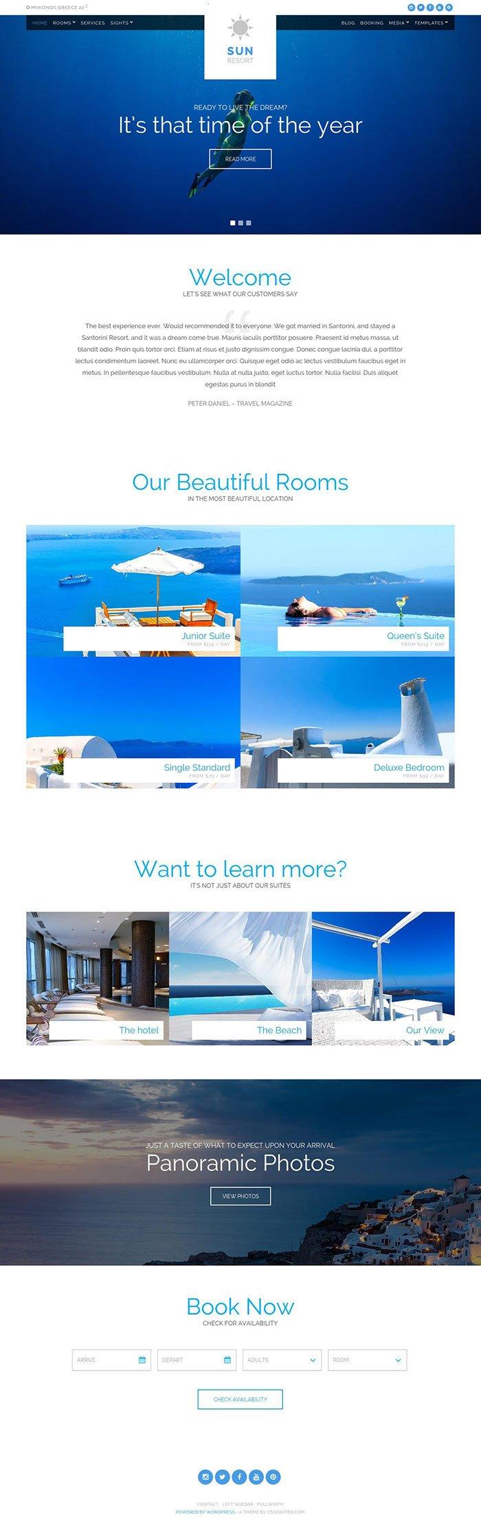 Sun Resort WordPress Theme