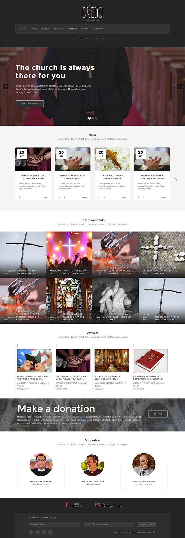 credo church wordpress theme teslathemes