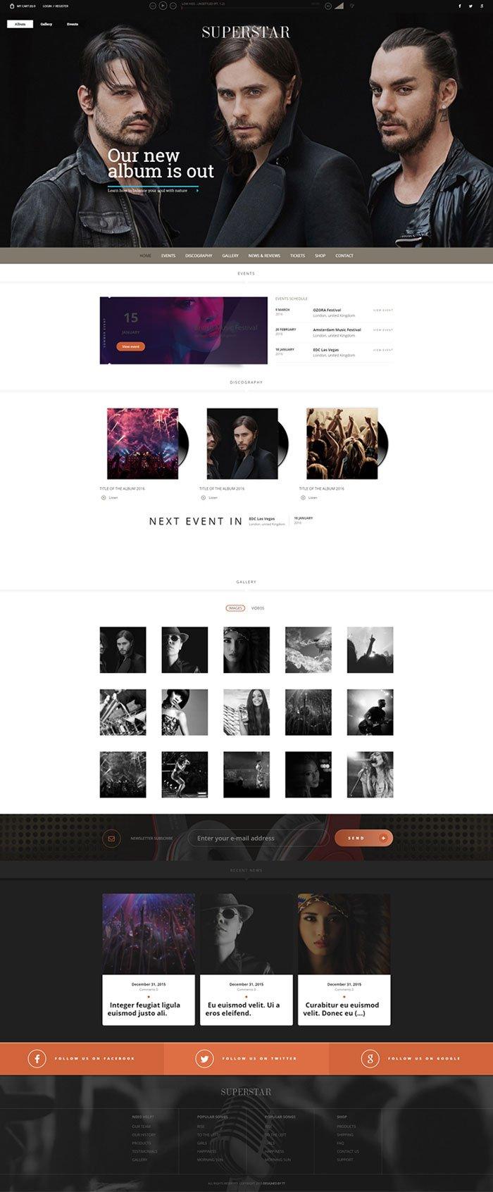 Superstar - Music Band WordPress Theme