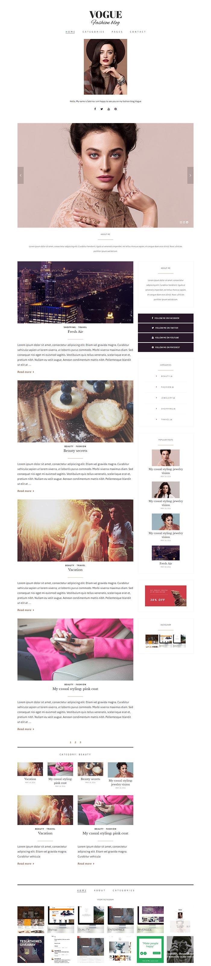 Vogue WordPress Theme TeslaThemes