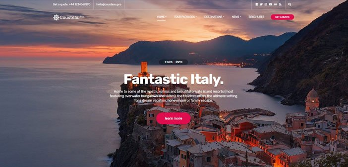 Cousteau Pro – A Modern Travel blogger WordPress Theme