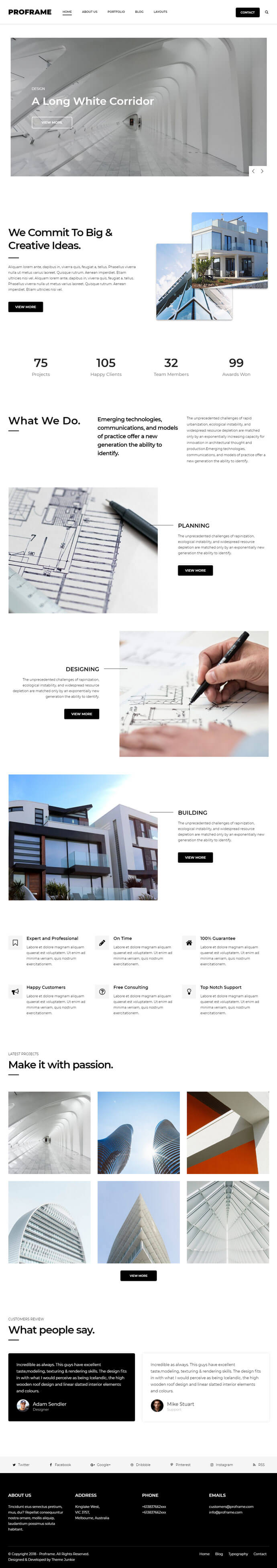 ProFrame – A Minimal Business Portfolio WordPress Theme By Theme Junkie
